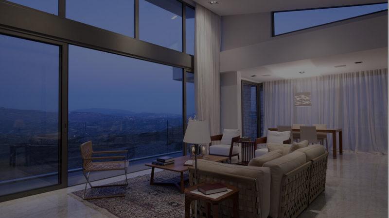 生活区:地板到天花板的落地窗户